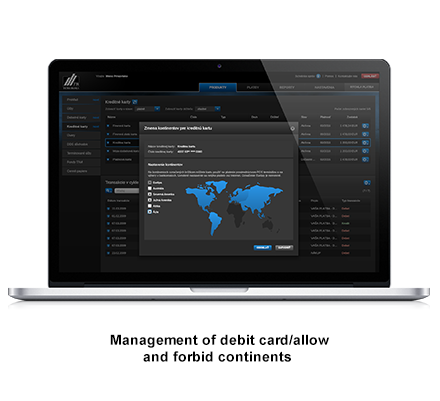 Management of debit card allow and forbit continets