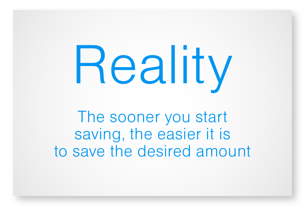 Reality - the sooner you start saving, the easier it is to save the desired amount