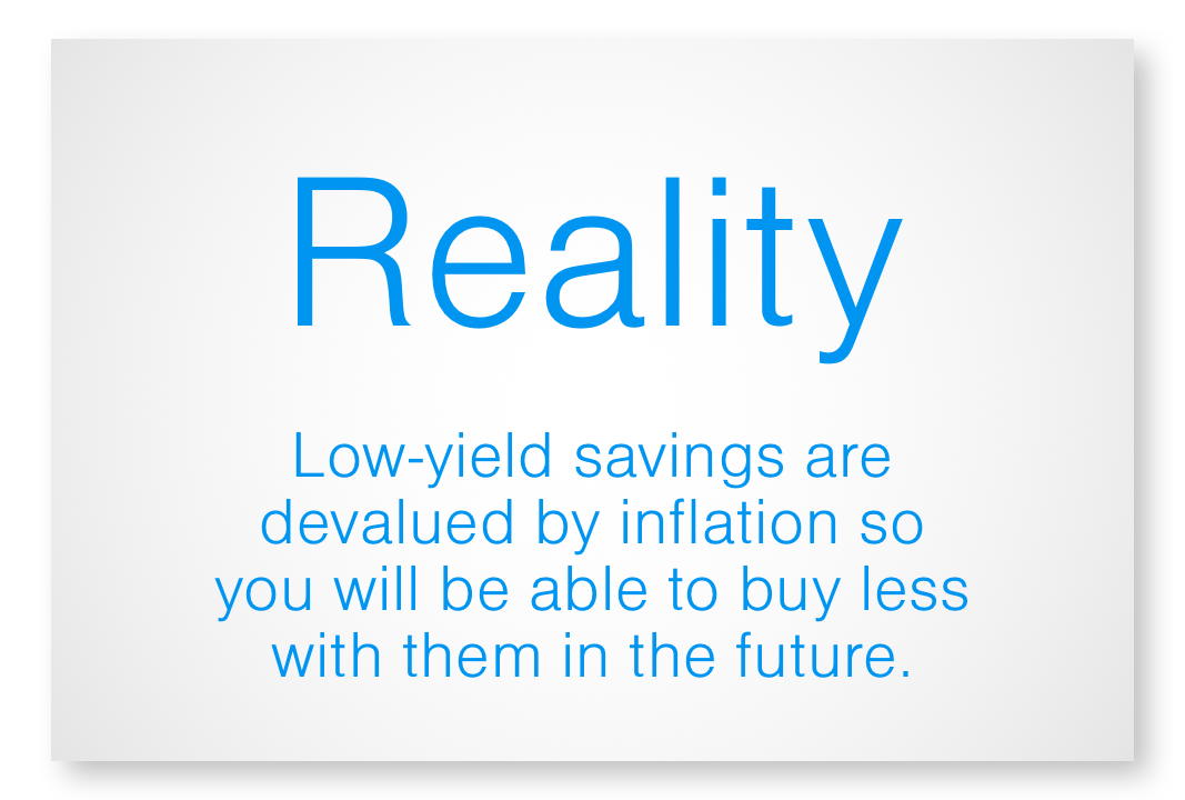 Reality - low-yield savings atre devalued by inflation so you will be able to buy less with them in the future