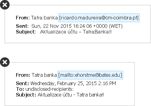 The official e-mail from Tatra banka is sent by a concrete sender